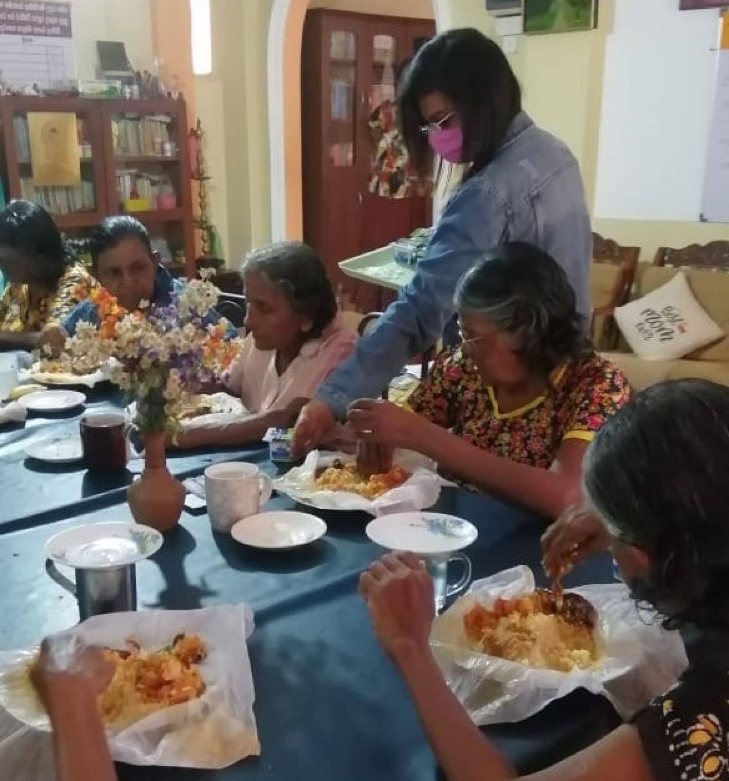 Sharing a heartwarming lunch at Jayawardena Elders Home